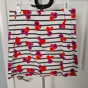 JCrew factory striped mini skirt with flowers